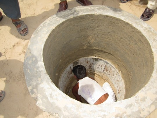 Digging of well in progress.