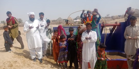 People are happy to get fresh drinking water