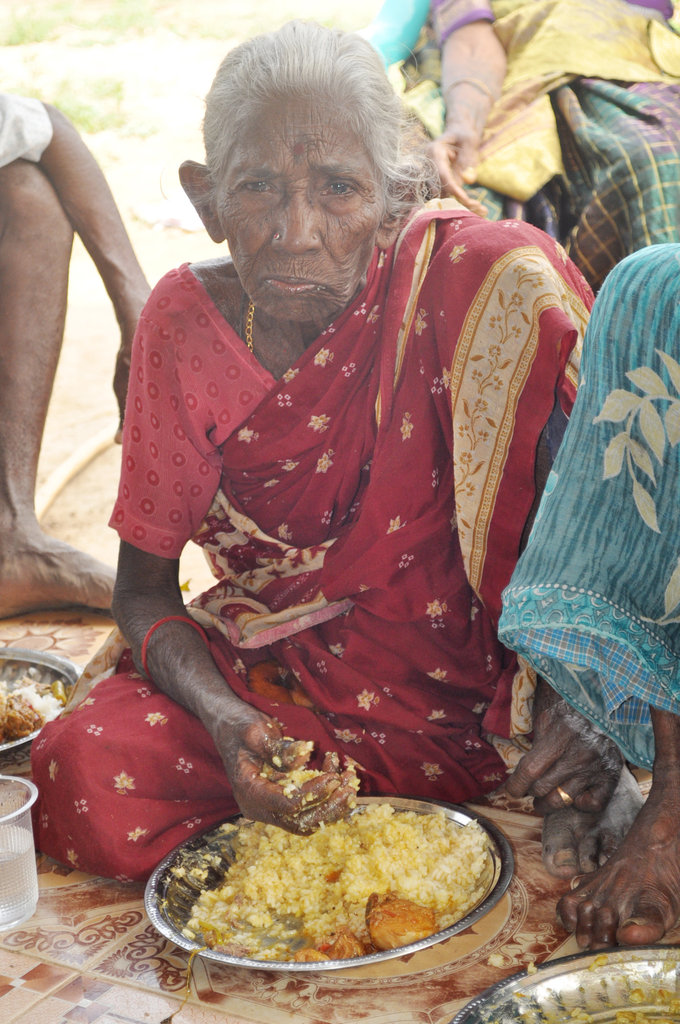 Food to Starving Neglected Elderly Women