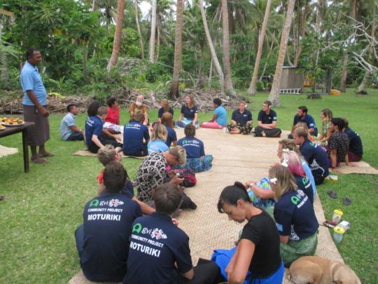 Taione Delai addressing the UK Moturiki volunteers
