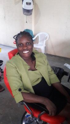 Studnets worked on Ms. Nambowa Ruth Bulyaba's hair