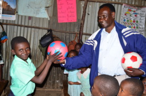 Giving out Footballs