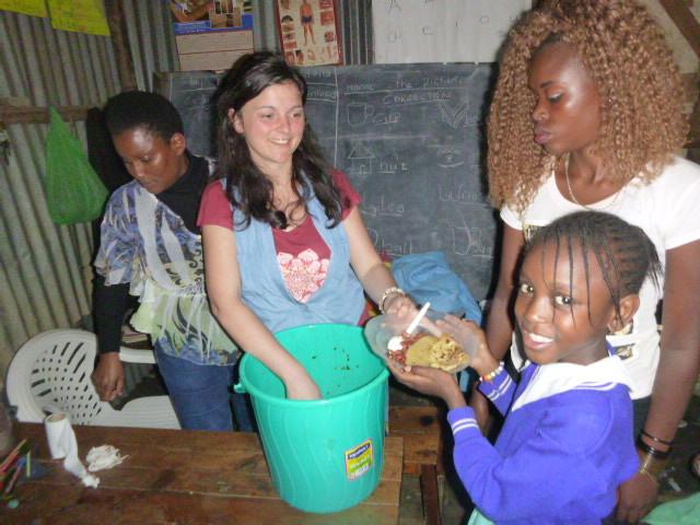 Tumaini team in action! Alice, Catherine& teachers