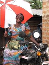 Joy Nangoye and Her Motorbike