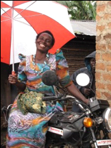 Joy Nangoye and Her Motorbike