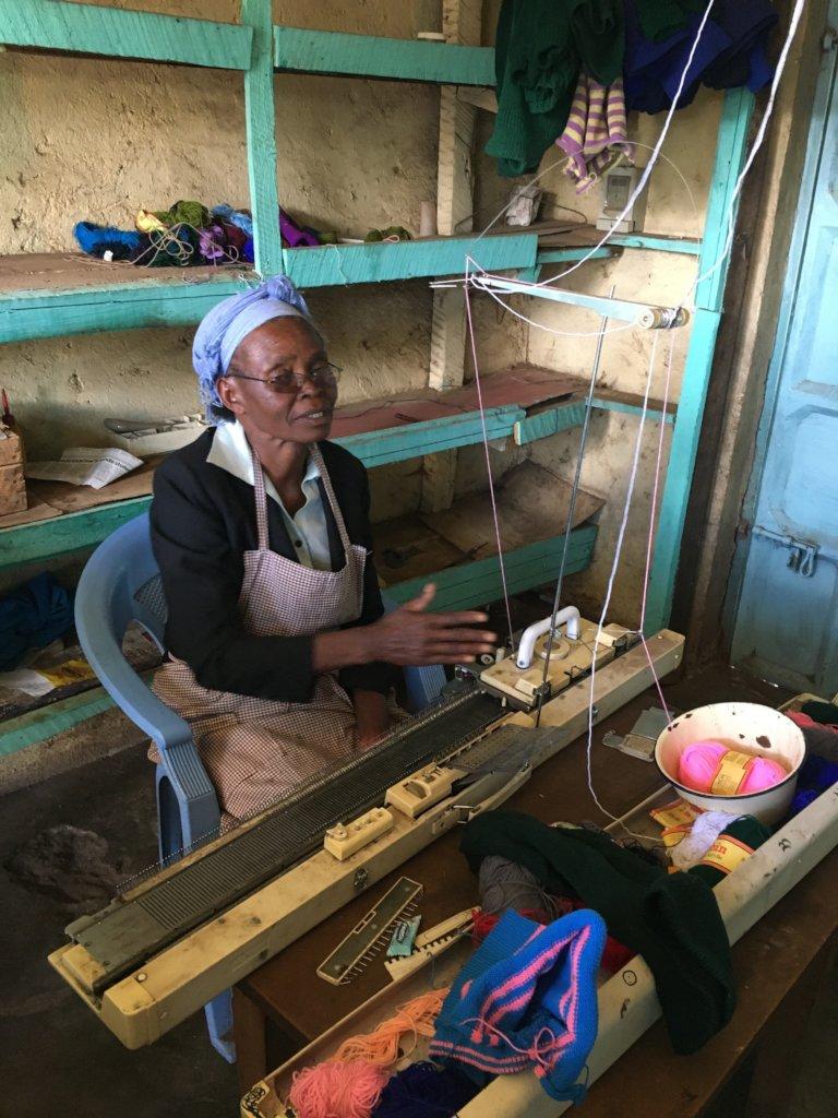 Eunice at her Knitting Machine
