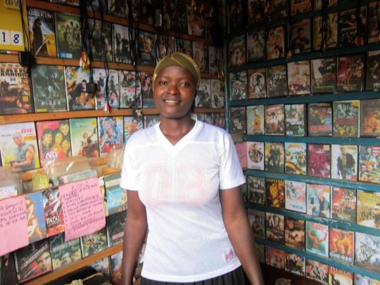 Robinah in her DVD Store
