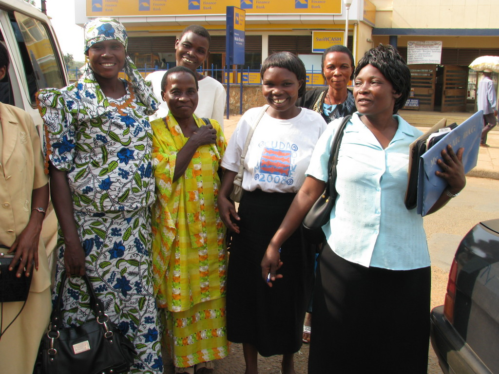 Women arriving to pick up PostBank loans