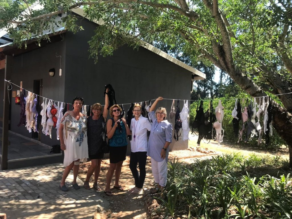 Washing line full of bras donated to Hlokomela!