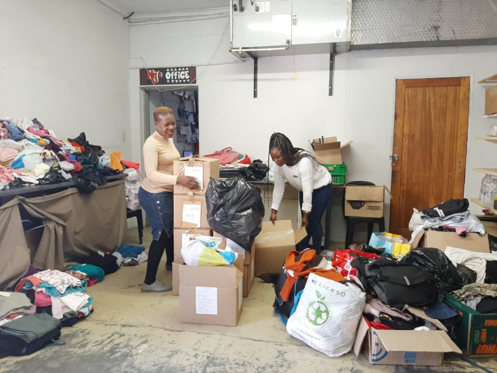 Sorting through the donations for fire victims