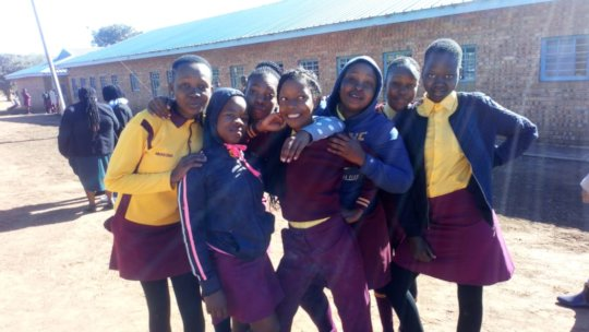 School girls at the Women's Clinic outreach