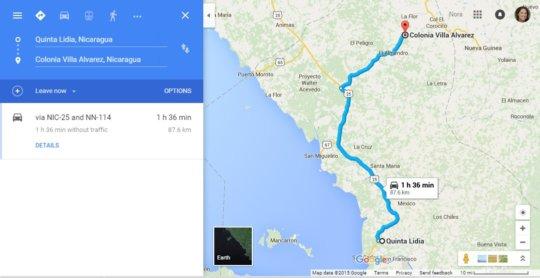 Distance to reach Villa Alvarez