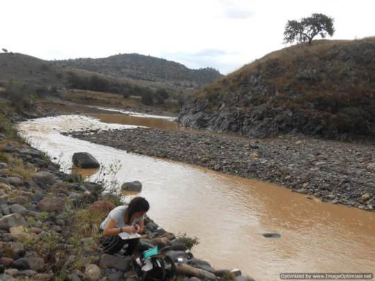 Sampling water downstream Cerro de Pasco