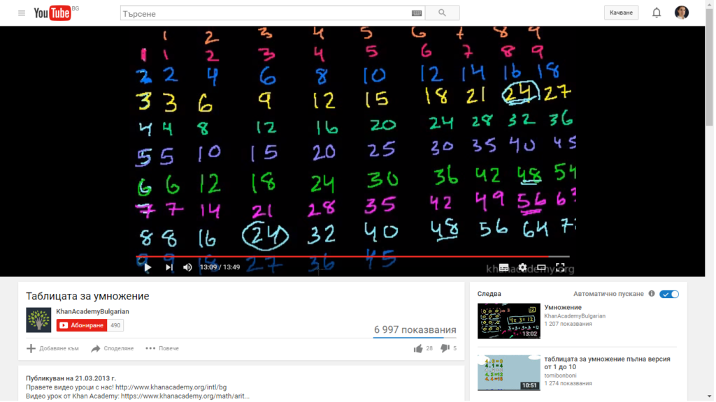 "894 views in 3 months/""The multiplication tables"""