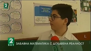 A Varna student in front of TV camera