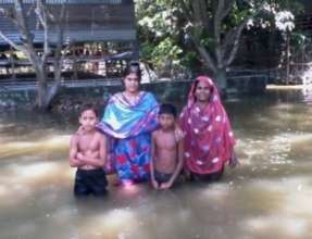 Family affected by flooding