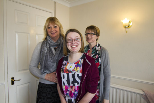 Emily with mum and Family Support Worker, Sarah