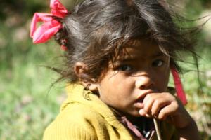 Little girl in village Wacham
