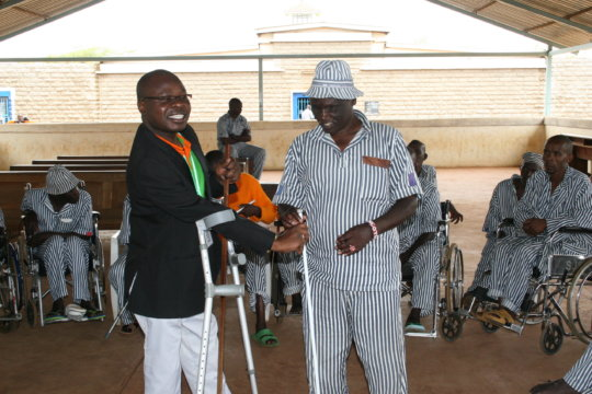 Receiving a white cane