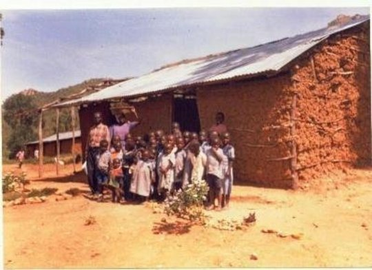 Younger children out side  their class