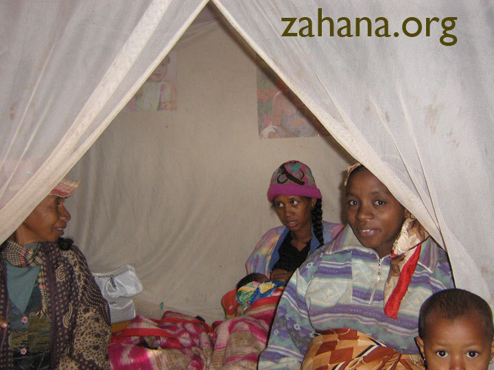 Mosquito nets in use