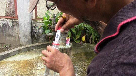 testing water temperature