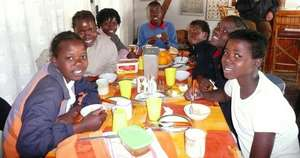 Having dinner together at Daktari Bush School