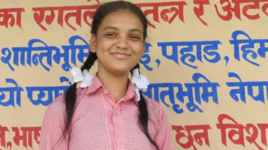 Asmita happy at school