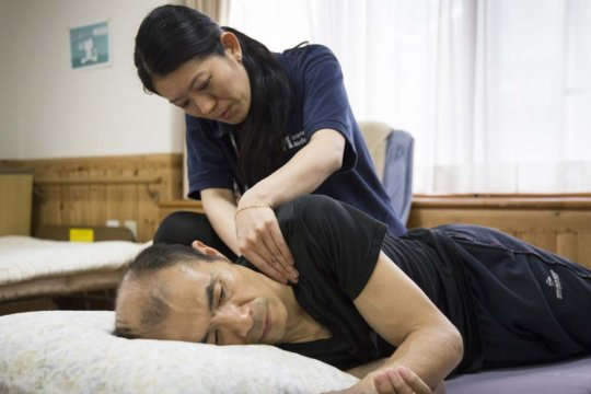 Physical therapy consultation at the care center