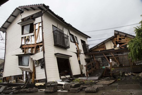 Destroyed homes in a neighborhood in Mashiki