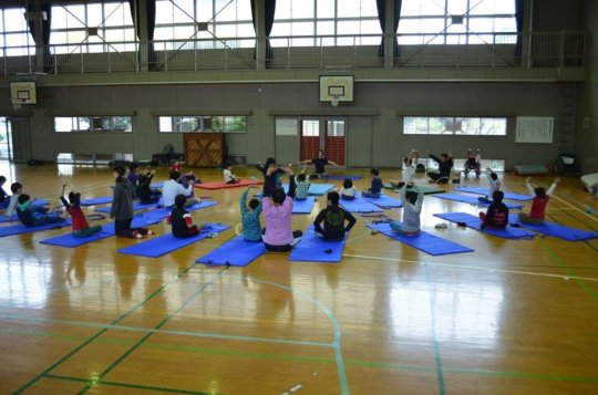 Yoga-therapy session for elementary school kids