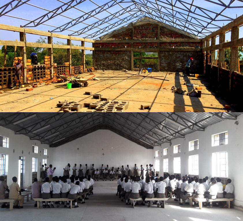 Assembly Hall construction before and after