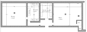 The drawing of the rooms and their position