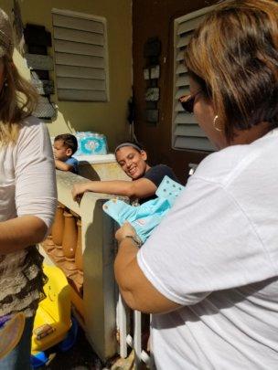 Distributing diapers in Patillas