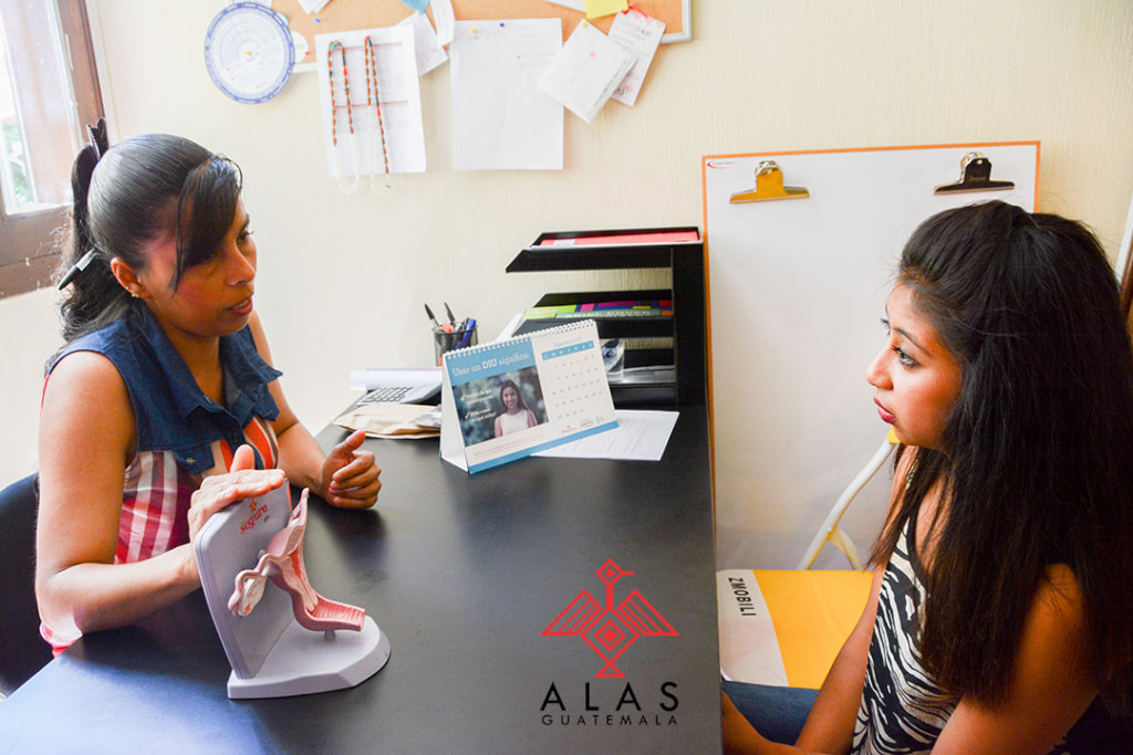 Youth client learns about contraceptive methods