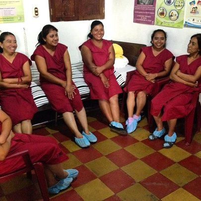 Women joking in our clinic for tubal ligations