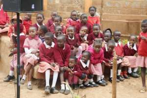 Mathare Girls waiting for class to start.