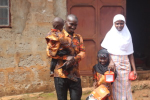 This family was thrilled to receive solar lights