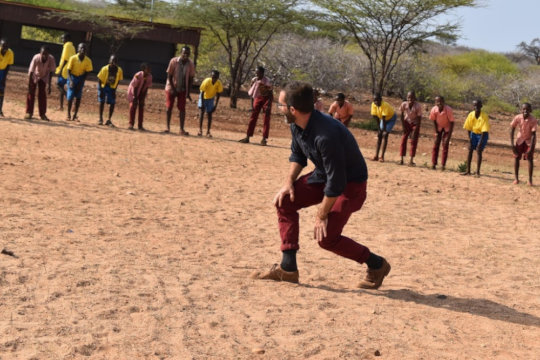 Ben competes with the kids in northern Kenya