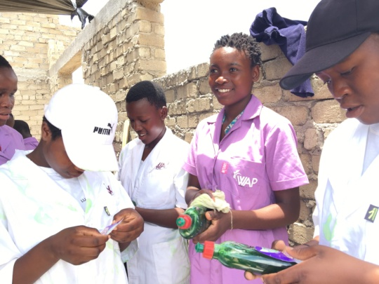 Girls against early marriage make soap in Zimbabwe