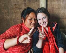 Rachel (r) and friend in Dhankuta, Nepal