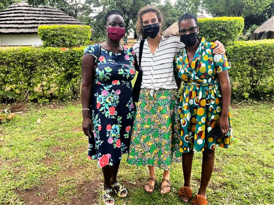 Anna in Uganda with hosts Victoria and Emma