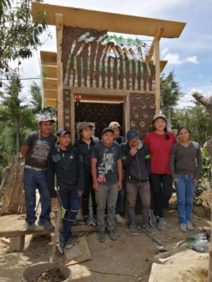 Bachillerato students with their finished latrine