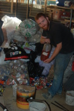 Sean setting up his invention to recycle cans