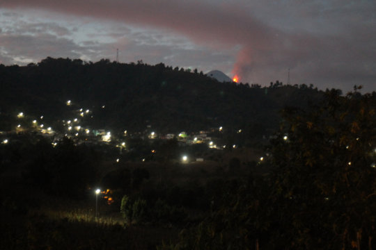 Volcano Fuego Erupting During Smoothie Making