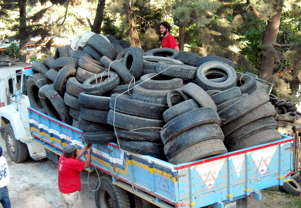 A load of tires for the retaining walls at the tecnico Maya Scho