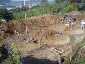 Aerial view of the foundation for three classrooms