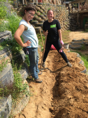 Vol. Coordinator, Robin and Intern, Steph, Gardens