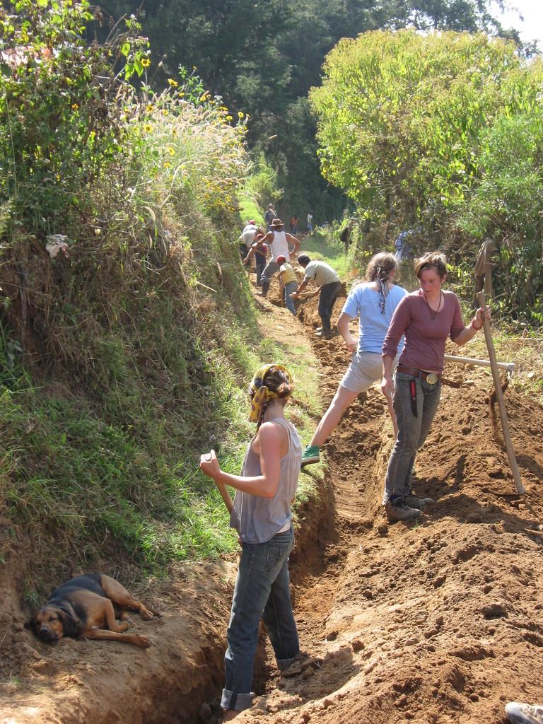Gringas digging Paxan water line
