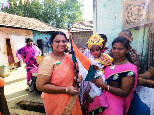 Aathika dressed as Bharatha Matha on Republic Day